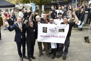 The Sussex Street Food of the Year competition held at Carfax in Horsham Cllr Christian Mitchell (left) with the grand finalists Cheryl Swinburn (Pig & Jacket) Toby Harmer (Garlic Wood) judge Stephen Edwards , Ranie Sirah (Jah Jyot) Paul jacobs (Jah Jyot) and Richard Groves (Pig & Jacket) For details contact Paula Seager Natural PR 01273 857242